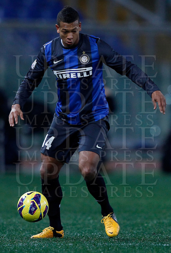 Calcio, semifinale di andata di Coppa Italia: Roma vs Inter. Roma, stadio Olimpico, 23 gennaio 2013..FC Inter midfielder Fredy Guarin, of Colombia, in action during the Italy Cup football semifinal first half match between AS Roma and FC Inter at Rome's Olympic stadium, 23 January 2013..UPDATE IMAGES PRESS/Isabella Bonotto