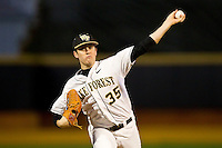Starting pitcher Tim Cooney #35 of the Wake Forest Demon Deacons delivers a pitch to the plate against the Maryland Terrapins at Wake Forest Baseball Park on March 9, 2012 in Winston-Salem, North Carolina.  The Demon Deacons defeated the Terrapins 10-5.  (Brian Westerholt/Four Seam Images)