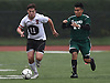 Zach Schmidt #11 of Island Trees, left, gets pressured by Freddy Vasquez #24 of Seaford during a Nassau County Conference A-6 varsity boys soccer game at Seaford High School on Monday, Oct. 8, 2018. The game ended in a 1-1 tie.
