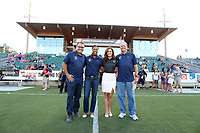 Cary, North Carolina  - Saturday August 05, 2017: Courage broadcasters Dean Linke, Thori Bryan, Kelly Glendenning, and Anson Dorrance prior to a regular season National Women's Soccer League (NWSL) match between the North Carolina Courage and the Seattle Reign FC at Sahlen's Stadium at WakeMed Soccer Park. The Courage won the game 1-0.