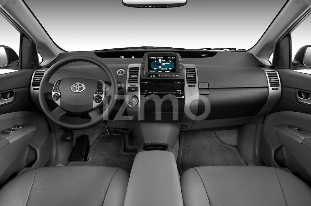 Straight dashboard view of a 2008 toyota prius touring.