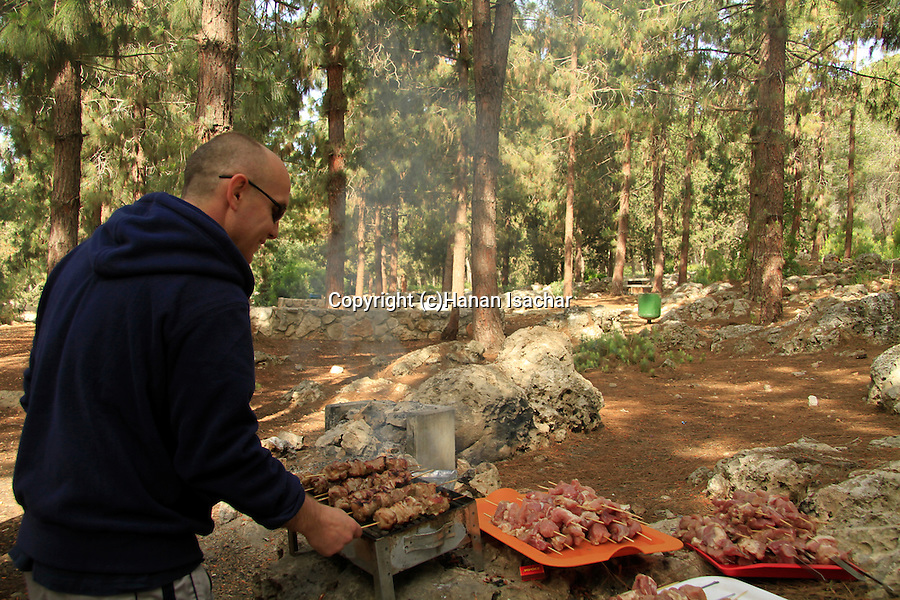 Israel, Mount Carmel, barbeque at Keren Hacarmel forest