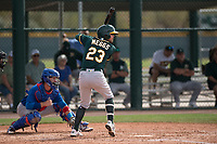 Oakland Athletics outfielder Jack Meggs (23) at bat during a Minor League Spring Training game against the Chicago Cubs at Sloan Park on March 13, 2018 in Mesa, Arizona. (Zachary Lucy/Four Seam Images)