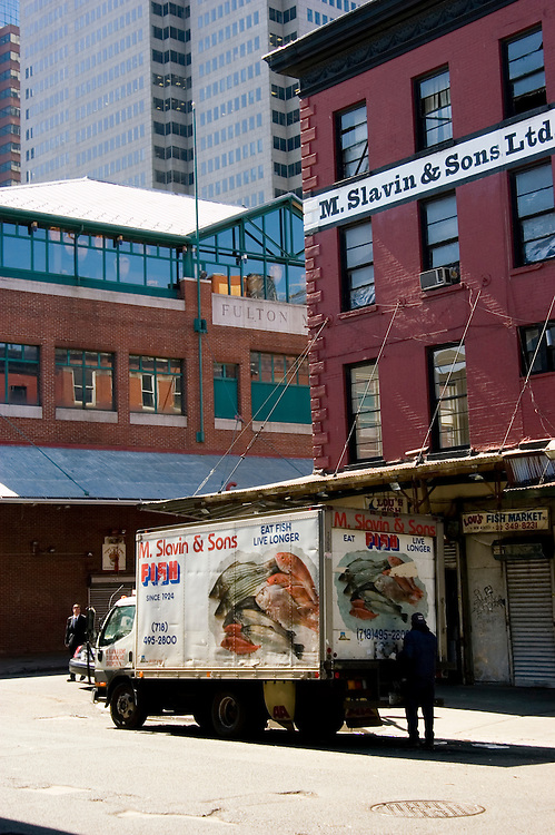 New York City, New York: Fulton Street Fish Market near South Street Seaport  .Photo #: ny250-14690  .Photo copyright Lee Foster, www.fostertravel.com, lee@fostertravel.com, 510-549-2202.