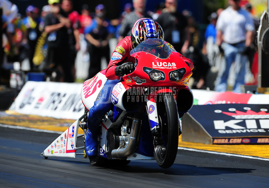 Mar. 13, 2011; Gainesville, FL, USA; NHRA pro stock motorcycle rider Hector Arana during the Gatornationals at Gainesville Raceway. Mandatory Credit: Mark J. Rebilas-