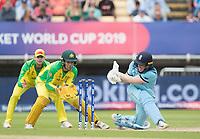 Eoin Morgan (England) sweeps backward of square during Australia vs England, ICC World Cup Semi-Final Cricket at Edgbaston Stadium on 11th July 2019