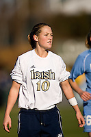 Notre Dame Fighting Irish midfielder Brittany Bock (10). Notre Dame Fighting Irish midfielder Brittany Bock (10). The North Carolina Tar Heels defeated the Notre Dame Fighting Irish 2-1 during the finals of the NCAA Women's College Cup at Wakemed Soccer Park in Cary, NC, on December 7, 2008. Photo by Howard C. Smith/isiphotos.com