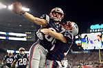 (Foxboro, MA, 01/21/18) New England Patriots wide receiver Danny Amendola, left, and teammate Chris Hogan celebrate Amendola's go ahead touchdown against the Jacksonville Jaguars during the fourth quarter of the AFC championship NFL football game at Gillette Stadium on Sunday, January 21, 2018. Photo by Christopher Evans