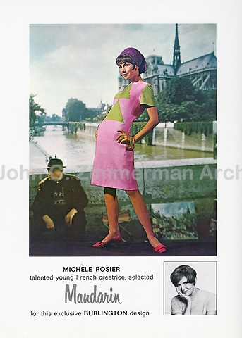 Burlington ad featuring French designer Michele Rosier (1930-2017) with front projection of Paris, c. 1963. Photo by John G. Zimmerman.