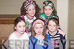TAKING PART: Taking part in the Feis at Causeway Comprehensive School on Sunday. L-r: Myra Hanafin (Tralee), Rachel Malone (Blennerville), Louise Horgan (Listowel), Alannah Kissane (Lixnaw) and Nerise Coffey (Listowel)..