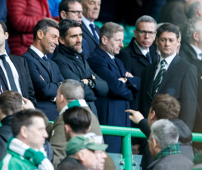 "Pedro Caixinha laughing as he gets some ""advice"" from a Celtic fan at full-time"