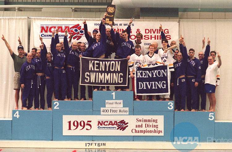 Caption: The Kenyon swim team celebrates its victory in the Division III Men's Swimming Championship March 18, 1995, in Oxford, Ohio. Kenyon has won 16 straight titles. Patrick Reddy/NCAA photos.
