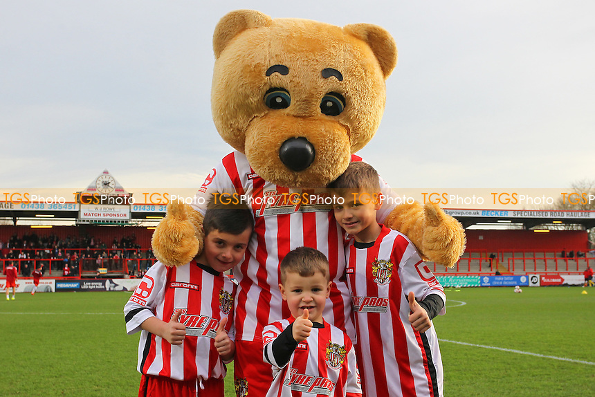 Boro Bear with the mascots during Stevenage vs Dagenham and Redbridge, Sky Bet League 2 Football at the Lamex Stadium, Stevenage, England on 28/12/2015