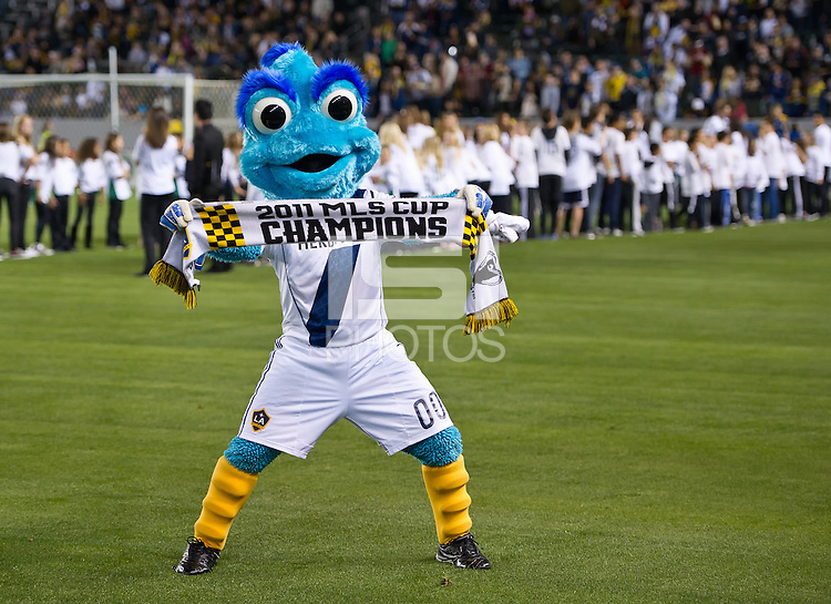 CARSON, CA - March 10,2012: Cosmo the LA Galaxy mascot before the game against Real Salt Lake at the Home Depot Center in Carson, California. Final score LA Galaxy 1, Real Salt Lake 3.