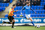 St Johnstone v Partick Thistle...29.03.14    SPFL<br /> Stevie May scores to make it 1-0<br /> Picture by Graeme Hart.<br /> Copyright Perthshire Picture Agency<br /> Tel: 01738 623350  Mobile: 07990 594431