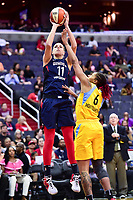 Washington, DC - June 15, 2018: Washington Mystics guard Elena Delle Donne (11) hits a jump shot over Chicago Sky forward Alex Montgomery (6) during game between the Washington Mystics and Chicago Sky at the Capital One Arena in Washington, DC. (Photo by Phil Peters/Media Images International)