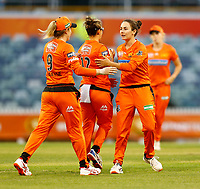 1st November 2019; Western Australia Cricket Association Ground, Perth, Western Australia, Australia; Womens Big Bash League Cricket, Perth Scorchers versus Melbourne Renegades; Perth scorchers players celebrate with Nicole Bolton after she caught out Sophie Molineux of the Melbourne Renegades