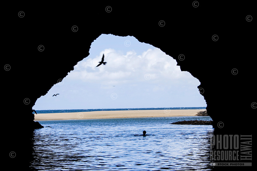 A woman swims while seabirds fly out of a sea cave at Kalalau Beach, Kaua'i.
