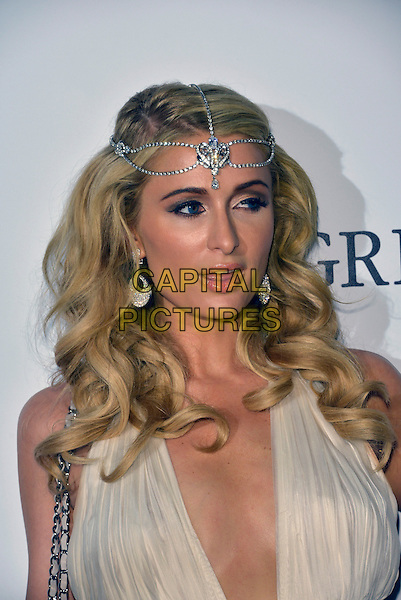Paris Hilton. 'De Grisogono' party arrivals at the Eden Roc, Hotel du Cap, Antibes during the 66th  Cannes Film Festival, France 21st May 2013.headshot portrait plunging neckline cleavage  silver headband diamonds earrings white  mouth open.CAP/PL.©Phil Loftus/Capital Pictures.