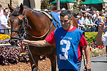 DEL MAR, CA  AUGUST 10:  #3 Storm the Court with Flavien Prat up in the paddock and post parade of a 2 yo maiden race  (Photo by Casey Phillips/Eclipse Sportswire/CSM)