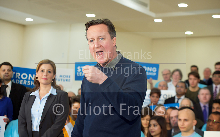 David Cameron speech 7th March 2015 <br /> <br /> Prime Minister David Cameron makes a speech in North London to mark two months until the General Election.<br /> at the Dhamecha Lohana Centre, Brember Road, Harrow London Great Britain <br /> <br /> Photograph by Elliott Franks <br /> Image licensed to Elliott Franks Photography Services