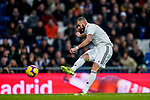 Karim Benzema of Real Madrid shoots to score the goal during the La Liga 2018-19 match between Real Madrid and Rayo Vallencano at Estadio Santiago Bernabeu on December 15 2018 in Madrid, Spain. Photo by Diego Souto / Power Sport Images