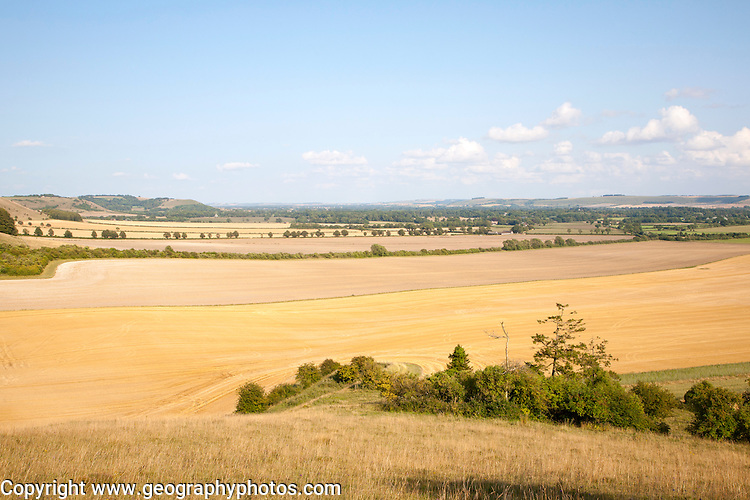 Steep chalk scarp slope and the Vale of Pewsey looking east from near Alton Barnes, Wiltshire, England