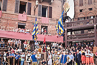 The flag wavers of the contrada (distrct) of La Tartuca during their exhibition