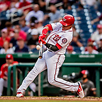 26 September 2018: Washington Nationals outfielder Juan Soto at bat in the 5th inning against the Miami Marlins at Nationals Park in Washington, DC. The Nationals defeated the visiting Marlins 9-3, closing out Washington's 2018 home season. Mandatory Credit: Ed Wolfstein Photo *** RAW (NEF) Image File Available ***