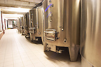 Domaine du Mas de Daumas Gassac. in Aniane. Languedoc. Stainless steel fermentation and storage tanks. France. Europe.