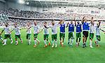 Stockholm 2014-05-24 Fotboll Superettan Hammarby IF - Varbergs BoIS FC  :  <br /> Hammarbys spelare med Pablo Pinones-Arce i mitten jublar med publiken efter matchen<br /> (Foto: Kenta J&ouml;nsson) Nyckelord:  Superettan Tele2 Arena HIF Bajen Varberg BoIS jubel gl&auml;dje lycka glad happy