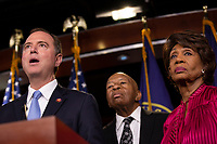 Intelligence Committee Chairman Adam Schiff (Democrat of California), House Oversight and Government Reform Committee Chairman Elijah Cummings (Democrat of Maryland), and Financial Services Committee Chairwoman Maxine Waters (Democrat of Califonria)  attend a press conference on Capitol Hill in Washington D.C., U.S. on June 11, 2019.  The press conference followed a House vote, where lawmakers passed a bill which allows the House Judiciary Committee to call on Federal judges to enforce Congressional subpoenas. Photo Credit: Stefani Reynolds/CNP/AdMedia