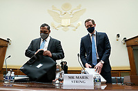 Brian Bulatao, under secretary of state for management at the US Department of State, left, and Marik String, acting legal adviser at the U.S. Department of State, arrive to a House Foreign Affairs Committee hearing in Washington, D.C., U.S., on Wednesday, Sept. 16, 2020. The hearing is investigating the firing of State Department Inspector General Steve Linick. <br /> Credit: Stefani Reynolds / Pool via CNP /MediaPunch