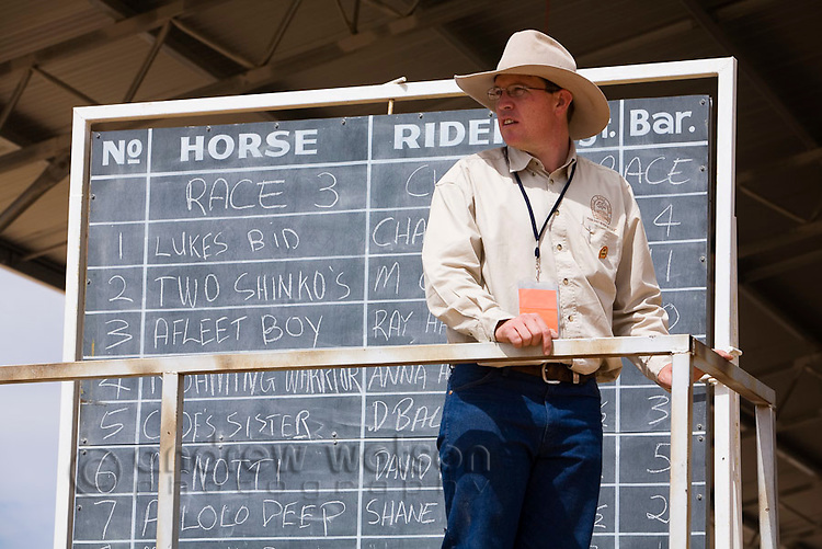 Race board at the Birdsville Races.  Every September thousands of horse racing enthusiasts arrive in the outback town for the Birdsville Cup racing carnival.  Birdsville, Queensland, AUSTRALIA.
