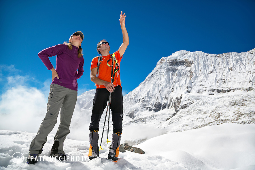 Ueli Steck returned to Nepal and the Annapurna south face in 2013 which he climbed solo, without oxygen, in one 28 hour alpine push, via a new route. The trip was his third attempt to climb the 8000 meter peak. Ueli looking back up to Annapurna with Janine Patitucci and the route he had just come down from.