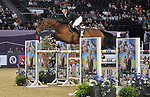 "Matthew Sampson (GBR) riding ""Doriena"". International showjumping. Grandstand welcome stakes. Horse of the year show (HOYS). National Exhibition Centre (NEC). Birmingham. UK. 05/10/2018. ~ MANDATORY CREDIT Garry Bowden/SIPPA - NO UNAUTHORISED USE - +44 7837 394578"