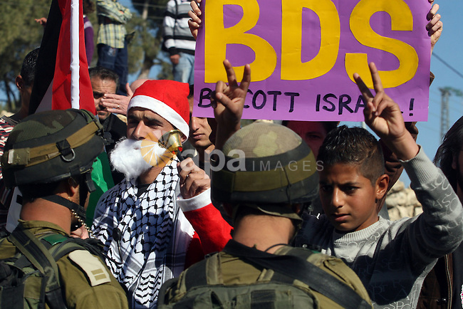 An Israeli soldier pushes back a demonstrator dressed as Santa Claus and holding a Palestinian flag during a protest against the controversial Israeli barrier in the West Bank village of al-Masara near Bethlehem December 23, 2011.  Photo by Issam Rimawi