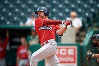 Lakewood BlueClaws first baseman Quincy Nieporte (10) at bat during a game against the Greensboro Grasshoppers on June 10, 2018 at First National Bank Field in Greensboro, North Carolina.  Lakewood defeated Greensboro 2-0.  (Mike Janes/Four Seam Images)