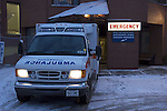 Ambulance at emergency door of hospital