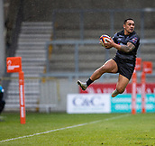 3rd February 2019, AJ Bell Stadium, Salford, England; Premiership Rugby Cup, Sale Sharks versus Newcastle Falcons; Sinoti Sinoti of Newcastle Falcons catches the ball neat the touchline