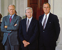 Washington DC., USA, September 14, 1993<br /> Former Presidents Ford, Carter, and Bush attend the NAFTA signing ceremony in the East room of the White House. Credit: Mark Reinstein/MediaPunch