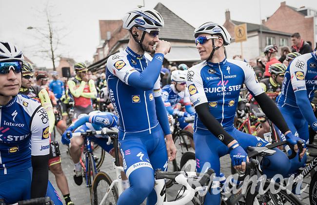 Tom Boonen (BEL/Quick-Step Floors) in his last ever (farewell) race on Belgian soil (starting in his hometown of Mol) next to his teammate and Scheldeprijs record holder Marcel Kittel (GER/Quick Step Floors) at the start line<br /> <br /> 105th Scheldeprijs 2017 (1.HC)<br /> 1 Day Race: Mol &rsaquo; Schoten (BEL/202km)
