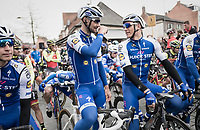 Tom Boonen (BEL/Quick-Step Floors) in his last ever (farewell) race on Belgian soil (starting in his hometown of Mol) next to his teammate and Scheldeprijs record holder Marcel Kittel (GER/Quick Step Floors) at the start line<br /> <br /> 105th Scheldeprijs 2017 (1.HC)<br /> 1 Day Race: Mol &rsaquo; Schoten (BEL/202km)