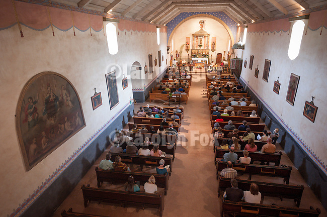 A filled chapel during Easter Service, Mission San Antonio de Padua, California.