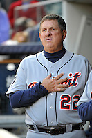 Apr 02, 2011; Bronx, NY, USA; Detroit Tigers coach Gene Lamont (22) during game against the New York Yankees at Yankee Stadium. Yankees defeated the Tigers 10-6. Mandatory Credit: Tomasso De Rosa