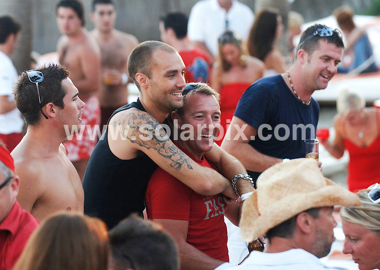 **ALL ROUND PICTURES FROM SOLARPIX.COM**.**WORLDWIDE SYNDICATION RIGHTS**.The Romeo Calum Best was up to his usual getting drunk and kissing the ladies at the weekend in Marbella, at the closing Red party of Nicky beach with Wayne Lineker (Brother of Gary the football ace) the event was held on Sunday afternoon..JOB REF:4924-JGS        DATE:02_10_07.**MUST CREDIT SOLARPIX.COM OR DOUBLE FEE WILL BE CHARGED* *UNDER NO CIRCUMSTANCES IS THIS IMAGE TO BE REPRODUCED FOR ANY ONLINE EDITION WITHOUT PRIOR PERMISSION*