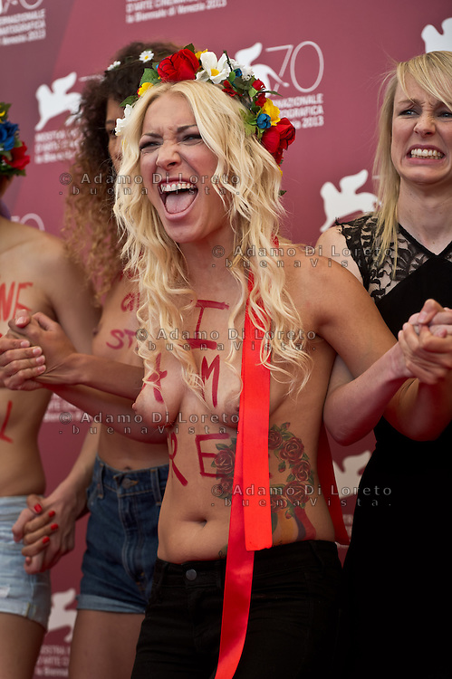 Femen activist Sasha Shevchenko attends 'Ukraine Is Not A Brothel' Photocall during the 70th Venice International Film Festival at Palazzo del Casino on September 4, 2013 . (Photo by Adamo Di Loreto/BuenaVista*photo)