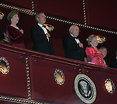 First lady Laura Bush, U.S. President George W. Bush, Vice President Dick Cheney, and Lynne Cheney attend the Kennedy Center Honors at the John F. Kennedy Center for the Performing Arts in Washington, on December 4, 2005. .Credit: Katie Falkenberg - Pool via CNP