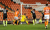 Blackpool's Ryan Hardie sees his effort cleared off the line by Macclesfield Town's Fiacre Kelleher<br /> <br /> Photographer Kevin Barnes/CameraSport<br /> <br /> The Carabao Cup First Round - Blackpool v Macclesfield Town - Tuesday 13th August 2019 - Bloomfield Road - Blackpool<br />  <br /> World Copyright © 2019 CameraSport. All rights reserved. 43 Linden Ave. Countesthorpe. Leicester. England. LE8 5PG - Tel: +44 (0) 116 277 4147 - admin@camerasport.com - www.camerasport.com