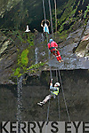 Steeplejacks from Collins Building & Steeplrjack Services in Clare abseiling down from the Grotto at Valentia Slate Quarry.